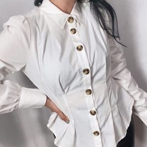 FREE PEOPLE NWT WESTERN ROPER STYLE WHITE BLOUSE